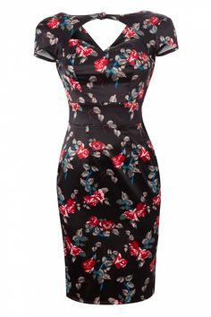 Bunny - Rosalie Sweetheart pencil dress in Black Satin Rose love this era! Simple Dresses, Elegant Dresses, Cute Dresses, Vintage Dresses, Beautiful Dresses, Vintage Outfits, Floral Fashion, Vintage Fashion, Rockabilly