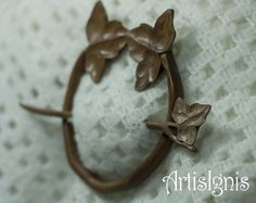 Ivy Shawl Pin or Hair Slide Handmade Pear Tree Wood by ArtisIgnis