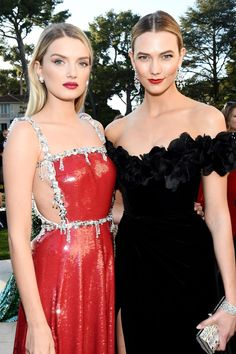 Lily Donaldson and Karlie Kloss in Cannes.