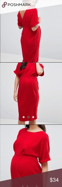 ASOS Maternity Red Dress Wedding Gorgeous ASOS Maternity Dress that I wore once for a wedding. I bought the dress on Posh! (I also got the gorgeous leather clutch on Posh!). I really felt classy in this dress and received lovely compliments. No issues! Washable! Not lined. Light, textured fabric great for summer through fall, and, well, prego women who are hot in winter! 97% polyester, 3% elastane. Zipper and hook and eye closure. Draped and fit is meant for stages through pregnancy. ASOS…