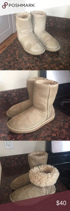 Uggs shoes Sand color Uggs, still very confortable, no tears. Nothing wrong with this just don't wear them anymore. UGG Shoes Winter & Rain Boots