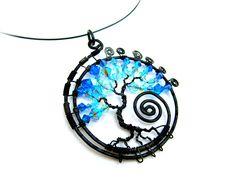 Swarovski Tree of Life, Black wire with Aquamarine and Capri AB2X Swarovski Crystal beads on a Nylon Choker Cord.