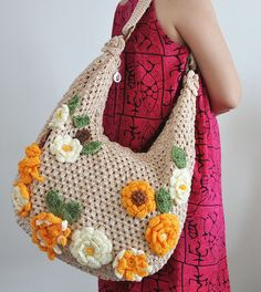 BOLSO FLORAL 5 - bolsa de apliques de flores de ganchillo