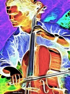 Cello Digital Art by Stephen Younts