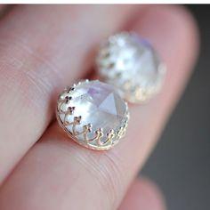 Rose Cut Rainbow Moonstone Earrings  Ready to by louisagallery, $105.00