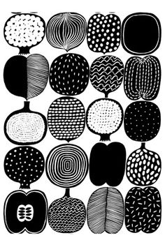 Marimekko Vatruska White/Black Fabric Repeat Various fruits adorn the Marimekko Vatruska Black/White Fabric on this playful yet refined print. Designer Aino-Maija Metsola also included an onion as an unexpected exception. Marimekko has a knack fo. Motifs Textiles, Textile Patterns, Textile Design, Fabric Design, Graphic Patterns, White Patterns, Print Patterns, Cool Patterns, Beautiful Patterns