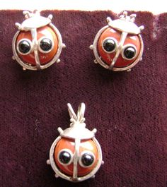 Adorable LadyBug Sterling and Cornelian Earrings and by FauxReal4, $27.50