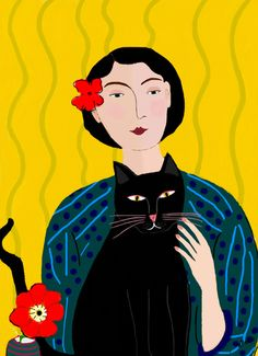Lady with Black Cat     by Pink Pagoda Studio