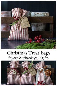 """Learn how to make these Christmas treat bags for party favors or as a small """"thank you"""" gift to everyone in your life. gift bag Christmas Treat Bags - DIY Make and Decorate Christmas Treat Bags, Small Christmas Gifts, Christmas Party Favors, Christmas Gifts For Coworkers, Diy Holiday Gifts, Homemade Christmas Gifts, Christmas Gift Wrapping, Homemade Gifts, Handmade Christmas"""