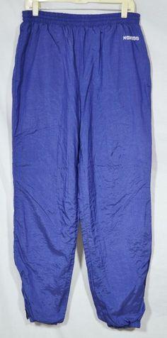 KSWISS Men's Blue Track Pants Large Elastic Drawstring Waist Lined Zipped Hems #KSwiss #TrackSweatPants