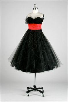 Vintage 1950s Black Tulle Glitter Dots Dress  by millstreetvintage, $245.00