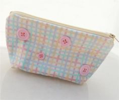 Pink Buttons Zippered Pouch by PiecefulDesign on Etsy, $8.00