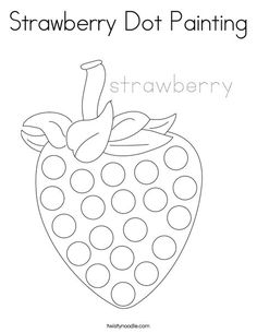 Strawberry Dot Painting Coloring Page - Twisty Noodle Q Tip Painting, Dot Art Painting, Painting Patterns, Painting For Kids, Art For Kids, Fruit Art Kids, Dot To Dot Printables, Fruit Coloring Pages, Fruit Crafts