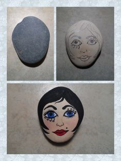 before & after hand painted free hand drawing of  a face rock MBR