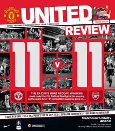 Front cover of United Review for the @manutd home game against Arsenal in the FA Cup quarter-final on 9 March 2015.