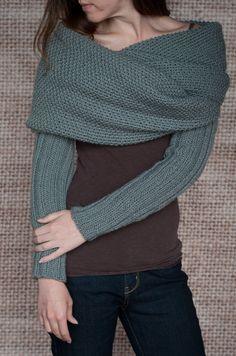 Knitting Pattern Sleeve Scarf Sweater Wrap by LakeHouseKnits