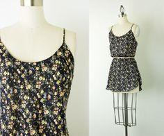 90s Vintage Navy Blue Floral Mini Slip Dress / Medium by decades, $30.00