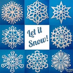 how to fold and cut great snowflakes copos de nieve (bailarina) Noel Christmas, Winter Christmas, All Things Christmas, Christmas Ornaments, Family Christmas, Winter Holidays, Paper Snowflake Template, Paper Snowflakes, Snowflake Craft