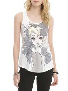 White racer back tank top with illustrated Tinker Bell design on front. Hot Topic