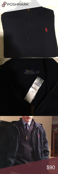 POLO RALPH LAUREN SWEATER Only tried on once in the pictures above, new with tag. Polo by Ralph Lauren Sweaters Zip Up