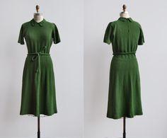Rolins Dress / 1940s knit dress / vintage kelly green dress
