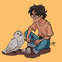 Harry Potter and Hedwig by Renny's Art and Stuff
