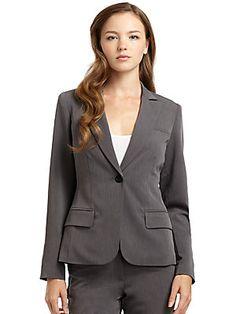 3d849d3d3dde28 Burberry Brit Leather-Detail Blazer & Pencil Skirt - Neiman Marcus ...
