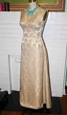 Vintage 1960s Formal Dress Gown Gold by PsychedelicPinup on Etsy, $110.00