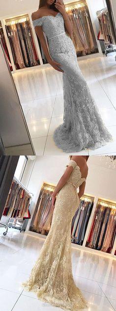 Lace Prom Dresses Long, Mermaid Prom Dresses Light Slate Gray, Open Back Evening Dresses 2018, Elegant Graduation Dresses Cheap