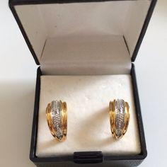 14k gold plated two tone, genuine diamond earrings Never worn, for pierced ears Jewelry Earrings
