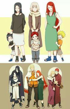 Naruto🍥: Naruto Sasuke & Gaara with their Mothers Anime Naruto, Naruto Comic, Naruto Fan Art, Naruto Cute, Naruto Sasuke Sakura, Naruto Shippuden Sasuke, Naruto Girls, Otaku Anime, Boruto
