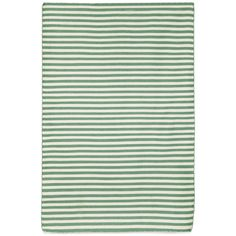 Simple stripe patterns combine with sophisticated blended colors in this indoor/outdoor flatweave.