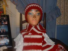 Crocheted Burgandy & Creme Men Women  Accessorie Scarf & Benie Hat Cap NEW    #Handmade #LongScarfHatBenie