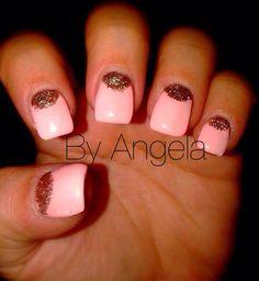 #pink #gold #glitter #gel #nail #art