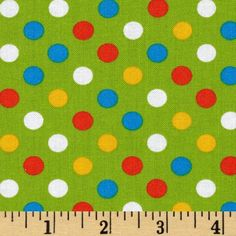 Kaufman Spot On Medium Dot Green from @fabricdotcom  Designed by Studio RK for Robert Kaufman Fabrics, this fabric is perfect for quilting, apparel and home décor accents. Colors include yellow, orange, turquoise and white on a green background.