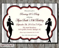 Roaring 20s Invitation 1920s Birthday Printable by pegsprints, $12.00