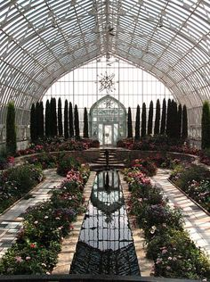 The sunken garden in the Marjorie McNeely Conservatory at Como Park in St. Paul, MN is a nice template.