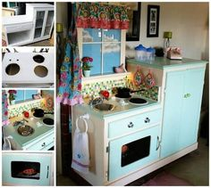 Turn an Old Cabinet into a Play Kitchen…awesome Upcycle Ideas! - All About Decoration Entertainment Center Makeover, Entertainment Center Kitchen, Diy Entertainment Center, Repurposed Furniture, Diy Furniture, Furniture Projects, Refurbished Furniture, Kitchen Furniture, Modern Furniture