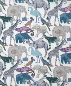 Liberty Art Fabrics Queue For The Zoo D Tana Lawn | Fabric | Liberty.co.uk