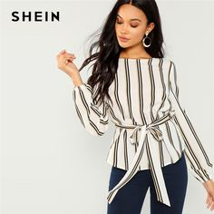 e907b83573e SHEIN White Office Lady Elegant Striped Print Scoop Neck Long Sleeve Blouse  2018 New Autumn Workwear Women Tops And Blouses