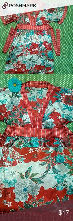 VINTAGE Oriental Dress w Batwings  size Small Cute vintage red blue  oriental dress size Small waist 30 Cute as cover up.   Sorry no trades 5.7.9 Dresses Midi