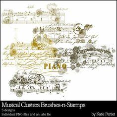 Musical Clusters Brushes and Stamps- Katie Pertiet Brushes- DS925700- DesignerDigitals
