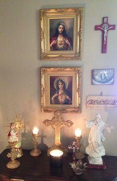 Sacred Heart of Jesus & Immaculate Heart of Mary above family altar/prayer corner. Home Altar Catholic, Catholic Prayers, Roman Catholic, Religious Icons, Religious Art, Prayer Corner, Prayer For Family, Spiritus, Prayer Room
