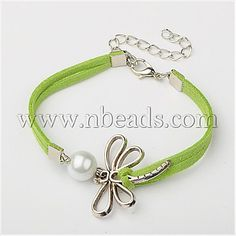 GreenYellow Faux Suede Cord+Alloy Bracelets