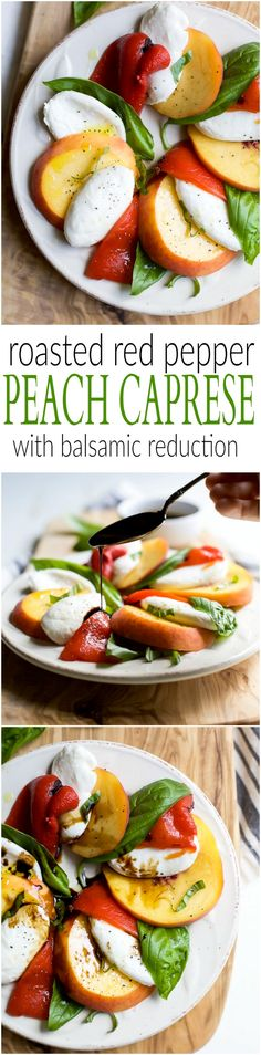 A light, refreshing, irresistible Roasted Red Pepper Peach Caprese drizzled with a homemade Balsamic Reduction. It's like a flavor bomb went off in your mouth! Fresh Salad Recipes, Salad Recipes For Dinner, Healthy Salad Recipes, Side Dishes Easy, Side Dish Recipes, Healthy Appetizers, Appetizer Recipes, Grilling Recipes, Cooking Recipes