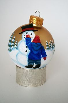 Hand Painted Christmas Ornament: My Snowman