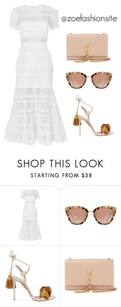"""Untitled #487"" by zoefashionsite on Polyvore featuring self-portrait, Aquazzura and Yves Saint Laurent"