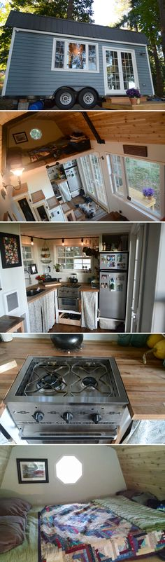 Liz and Tyler Cragg built this cozy cottage-style tiny house on an 8'x20' trailer so they could have the freedom to follow their nomadic instincts.