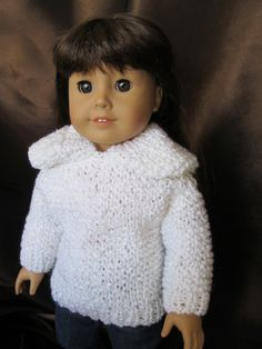 White Hooded Sweater for 18''Dolls, seen on American Girl ,Four Season Sweater , White Sweater,Everyday Wear, Casual Wear, Cute Fun Sweater by SewManyThingsbyNancy on Etsy