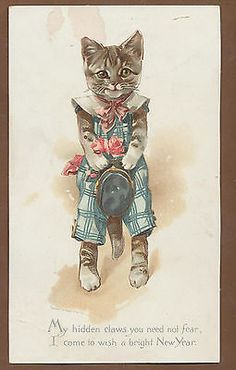 c2223 large victorian prang new year card little cat boy 1886 happy new year wishes